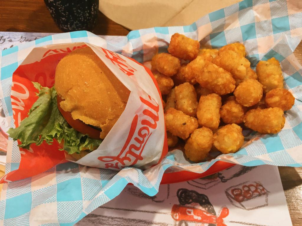 Plant-based Vegan Burger and Tater Tots vegan food Los Angeles