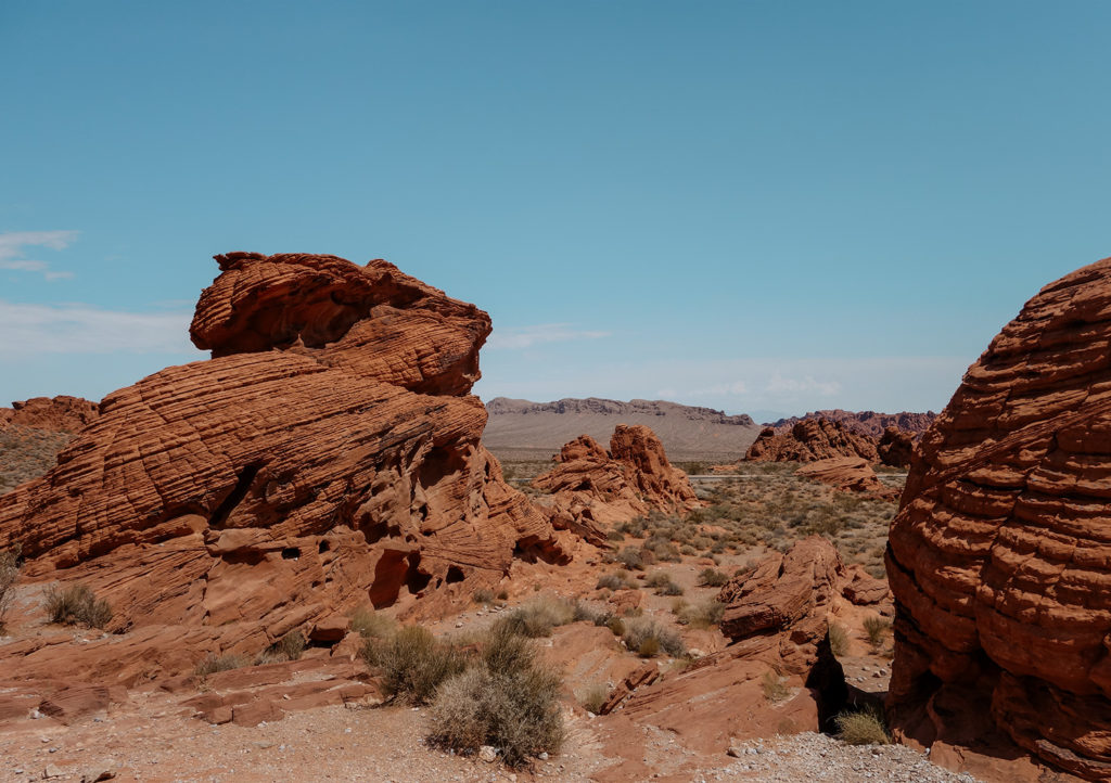 Bright Red Sandstone Rock formations in the valley of fire