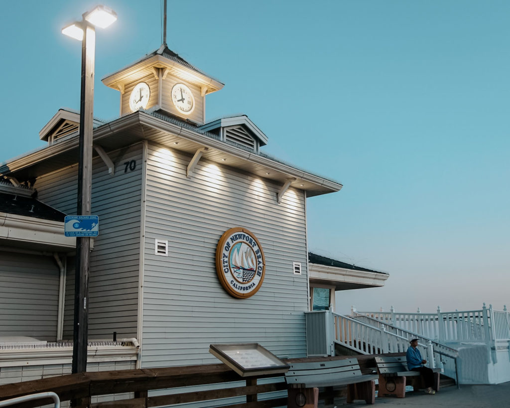 New Port Beach Pier House with a little Clock Tower