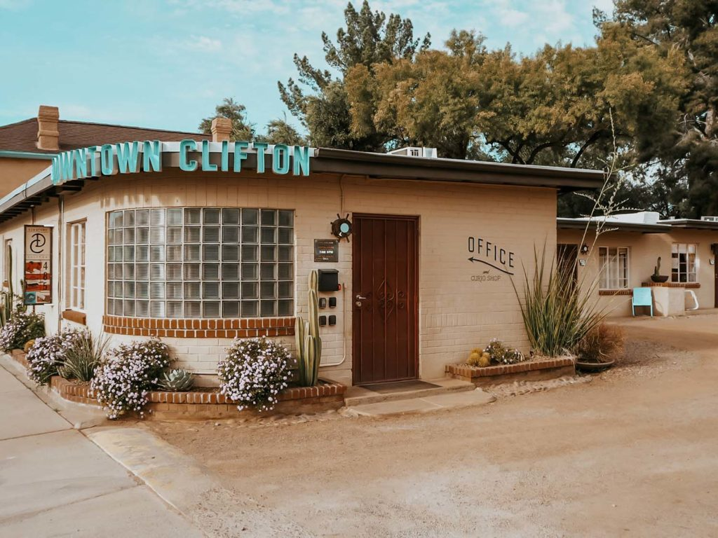 Photo of the Downtown Clifton in Tucson. Image shows the outside of the Office and Reception Building.