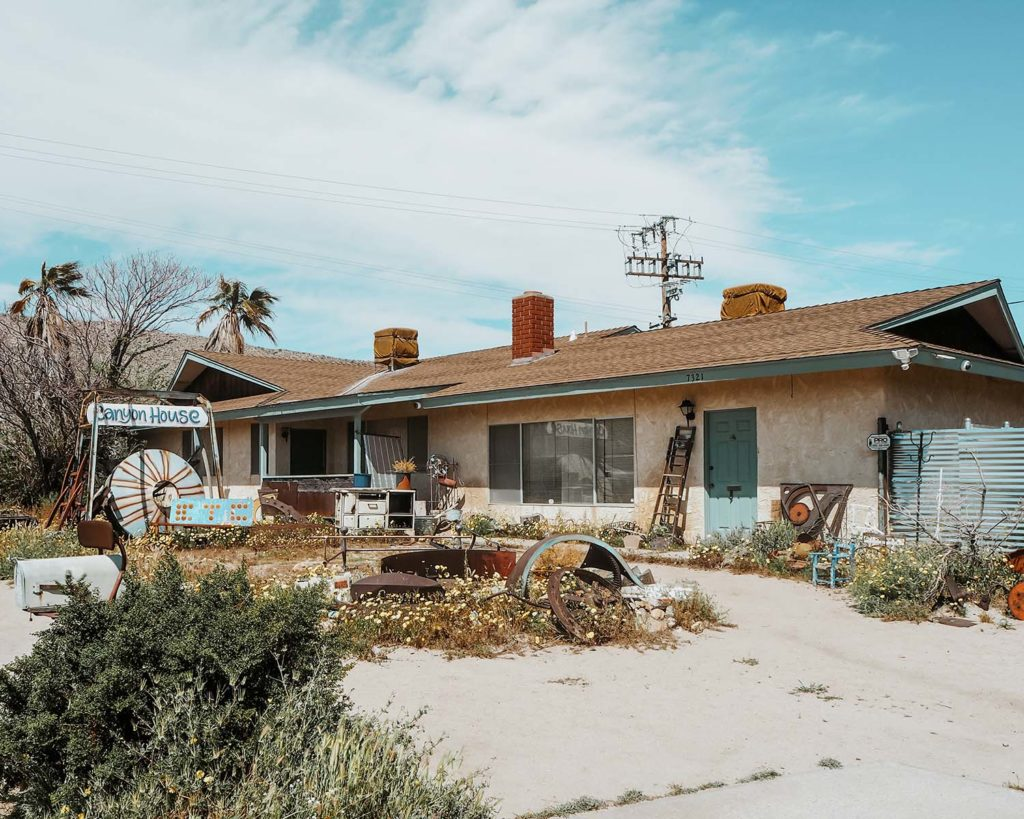 Image shows a quirky house in Joshua Tree Southwest Road Trip