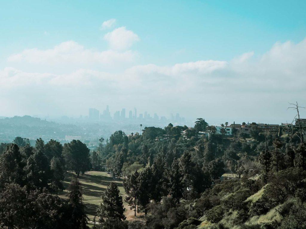 Griffith Park view on downtown LA
