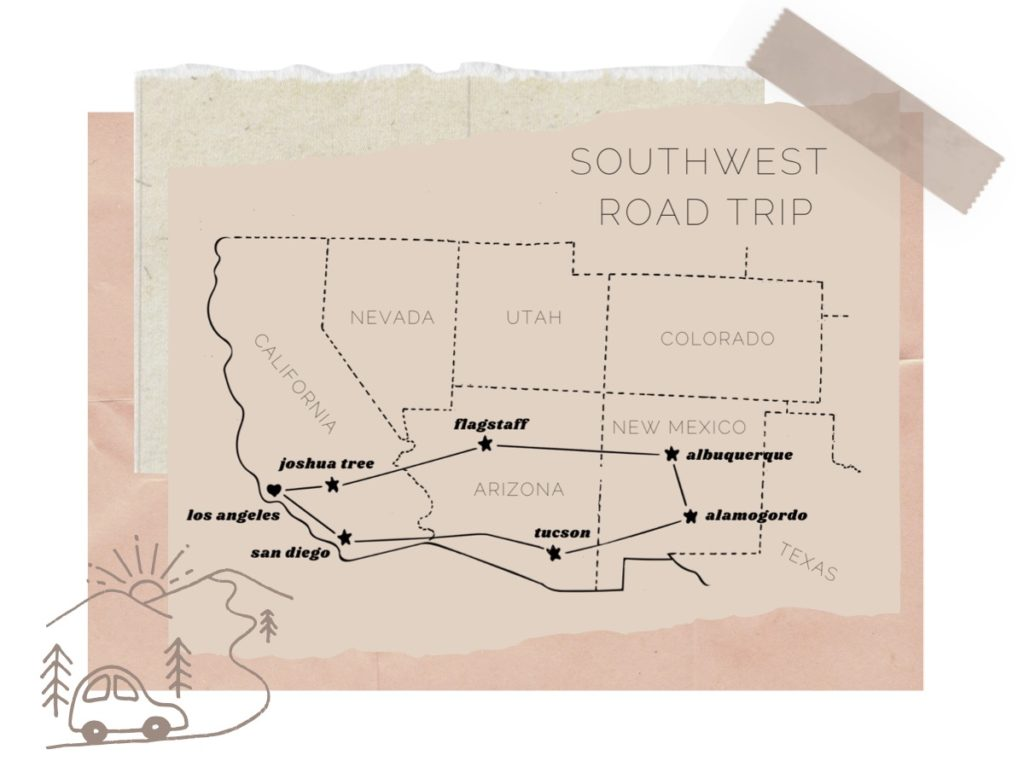 A collage with a hand drawn map of the Southwest